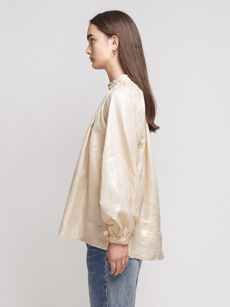 Elisdon Metallic Linen Smock Top