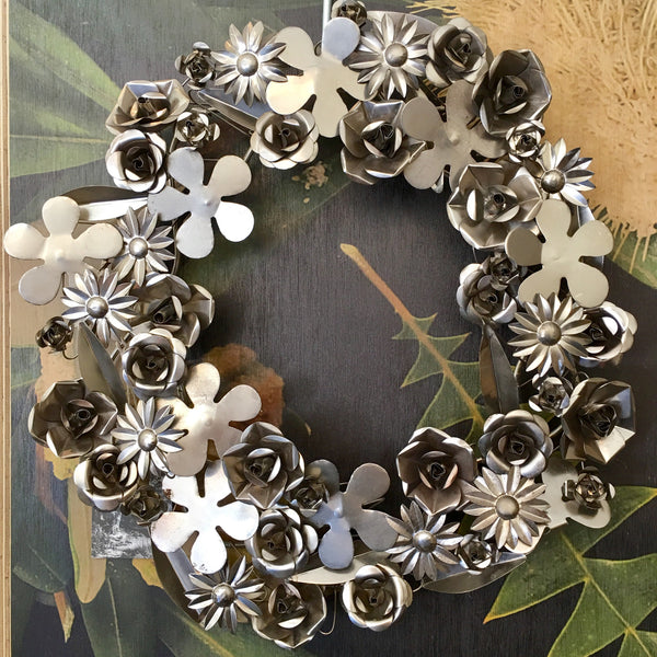 Aged Metal Flower Wreath