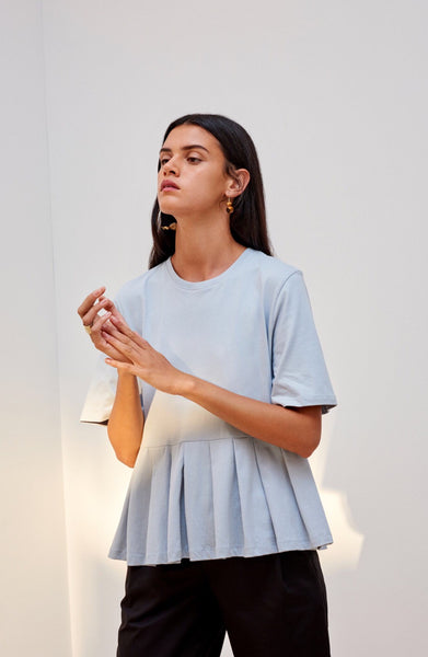 Building Block Pleat Tee - Powder Blue