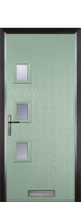green composite door with 3 squares