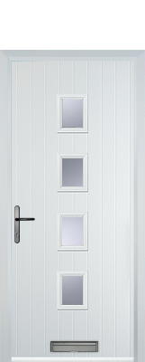 white composite door with squares in middle