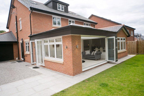 Aluminium Bi fold Doors Warm-core White Internal Grey External