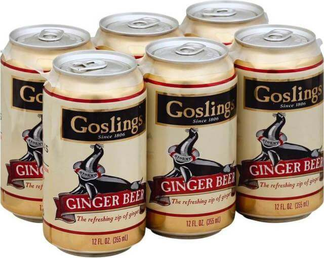 six cans of Gosling ginger beer 12 ounces