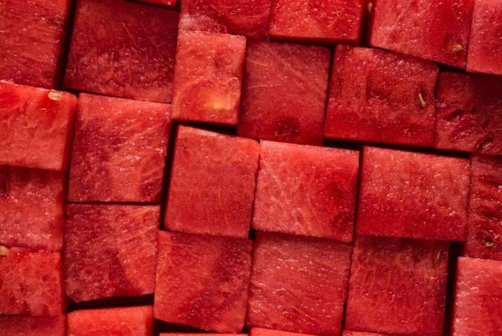 watermelon sliced in cubes close up top view