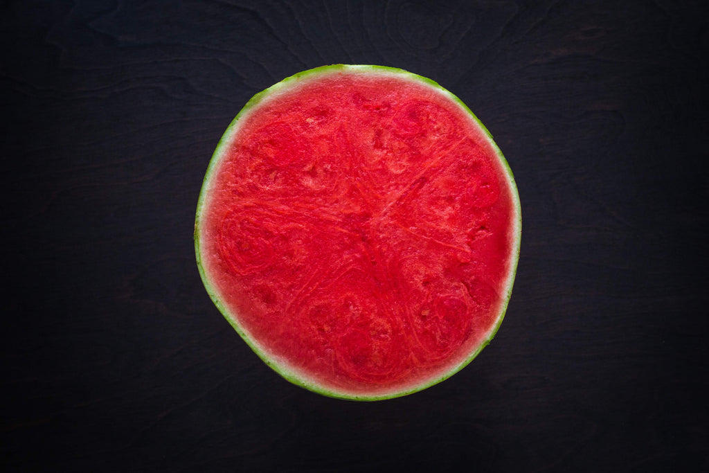 half slice of seedless watermelon top view