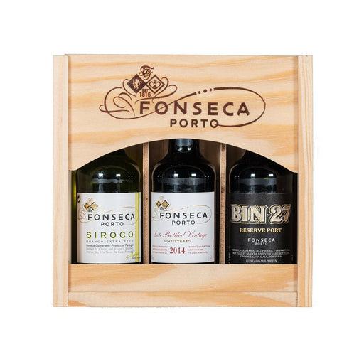 Fonseca 3 x 5cl Port Miniatures Gift Set in wood (Siroco, Bin 27 and LBV)