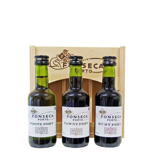 Fonseca 3 x 5cl Port Miniatures Gift Set in wood (Tawny, Ruby, White)