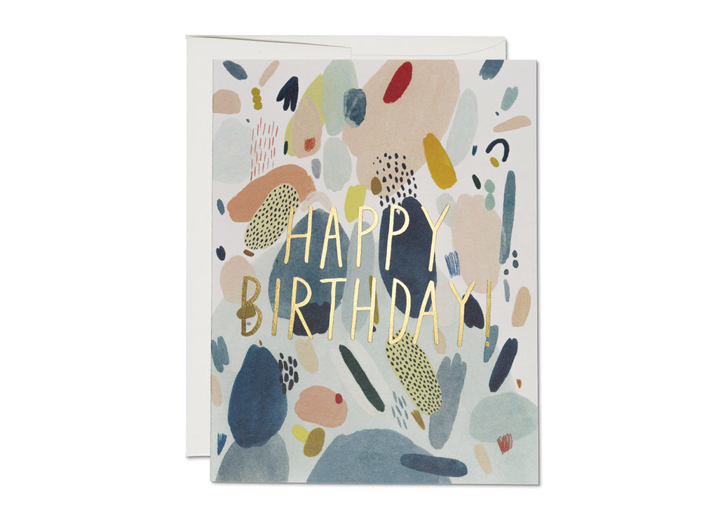 Red Cap Cards ABSTRACT BIRTHDAY - miniflamingo