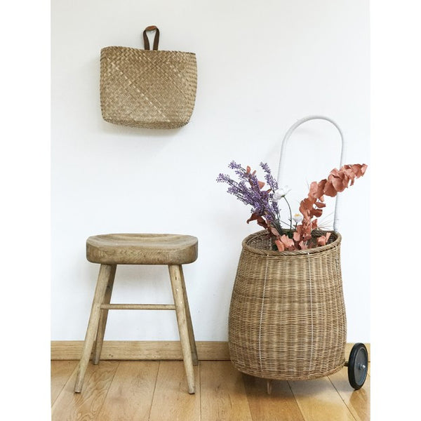 Olliella  BIG Luggy Basket Natural - miniflamingo