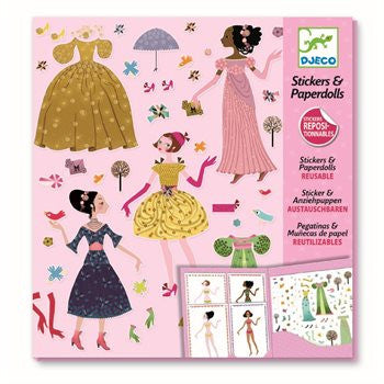 Djeco Paper dolls - Dresses through the seasons - miniflamingo
