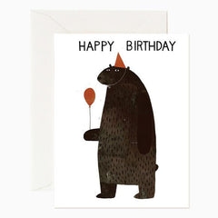 Red Cap Cards Party Bear - miniflamingo