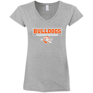 MS Bulldogs - Gildan G64VL Ladies' Fitted Softstyle 4.5 oz V-Neck T-Shirt
