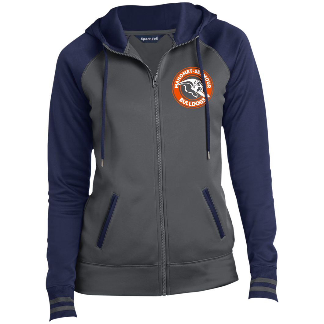 Mahomet Bulldog Circle Arch - LST236 Ladies' Moisture Wick Full-Zip Hooded Jacket