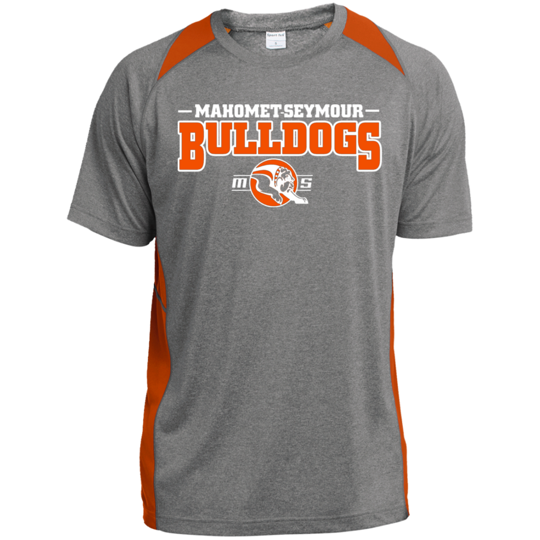 MS Bulldogs - ST361 Heather Colorblock Poly T-Shirt