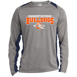 MS Bulldogs - ST361LS Long Sleeve Heather Colorblock Poly T-Shirt
