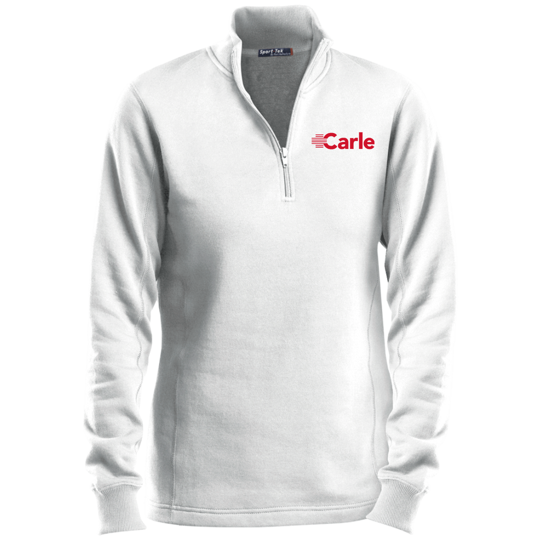 LST253 Ladies' 1/4 Zip Sweatshirt - Carle Red Logo