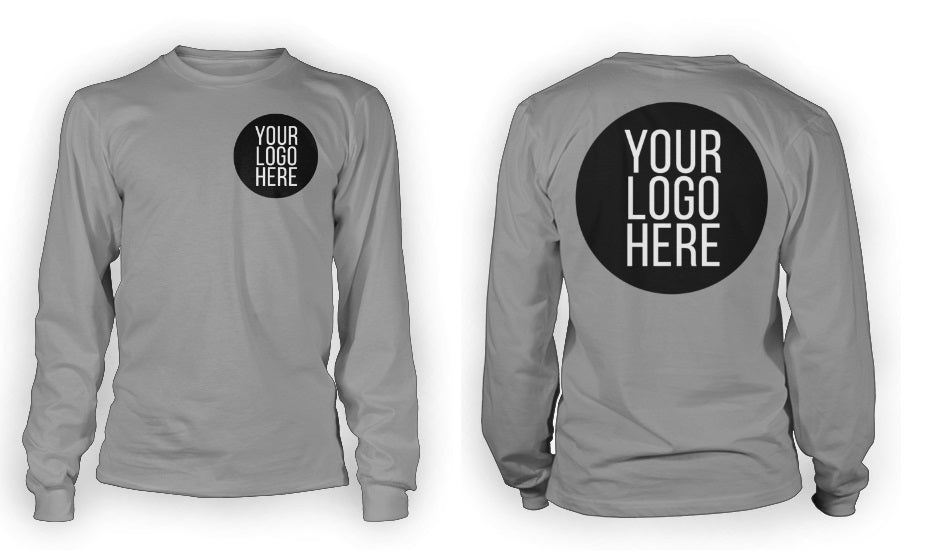 5 - Custom Designed - Gildan Long Sleeve - Two Color Front Left Crest & One Color Full Back Logo