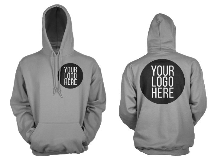 10 - Custom Designed - Gildan Hooded Sweatshirts - One Color Front Left Crest & One Color Full Back Logo