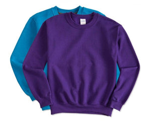 5 - Custom Designed - Gildan Crewneck Sweatshirts - Two Color Front Left Crest & One Color Full Back Logo