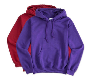 5 - Custom Designed - Gildan Hooded Sweatshirts - Two Color Front Left Crest & One Color Full Back Logo
