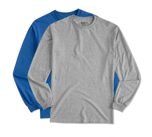 10 - Custom Designed - Gildan Long Sleeve Shirts - One Color Full Front Logo Only