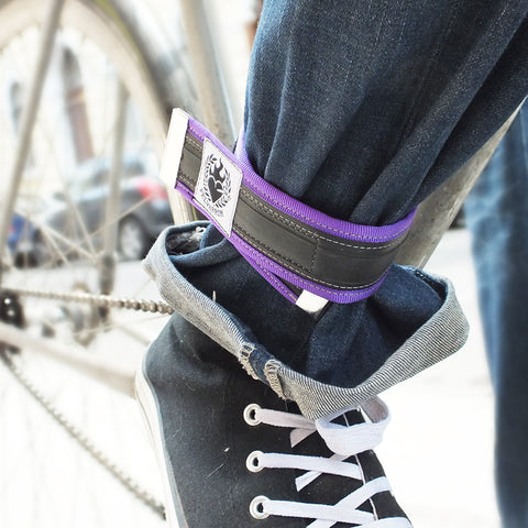 Trousers strap - bike chain oil protector– purple by Felvarrom bicycle upcyclery - 1
