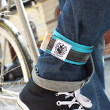 Upcycled cyclist trousers strap – turquoise by Felvarrom bicycle upcyclery - 1