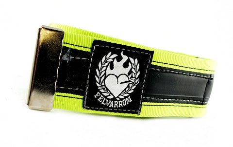 Trousers strap from reclaimed inner tube – neon by Felvarrom bicycle upcyclery - 1
