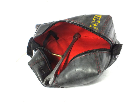 """InTuBag"" upcycled bicycle tube dopp bag, large, red inside by Felvarrom bicycle upcyclery - 1"