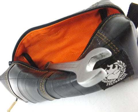 """InTuBag"" bike tube bag, medium, orange inside by Felvarrom bicycle upcyclery - 1"