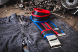 """Punctured"" inner tube belt, navy blue – red by Felvarrom bicycle upcyclery - 2"