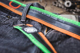 """Punctured"" inner tube belt, apple green - orange by Felvarrom bicycle upcyclery - 4"