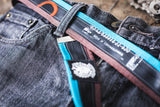 """Punctured"" inner tube belt, turquoise – dark brown by Felvarrom bicycle upcyclery - 2"