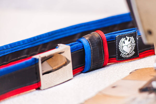 """Punctured"" inner tube belt, navy blue – red by Felvarrom bicycle upcyclery - 1"