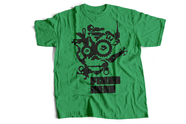 """Fixed head"" Tshirt, military green by Felvarrom bicycle upcyclery - 1"