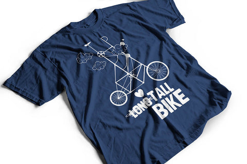 """Long tall bike"" biker Tshirt, navy blue by Felvarrom bicycle upcyclery - 1"