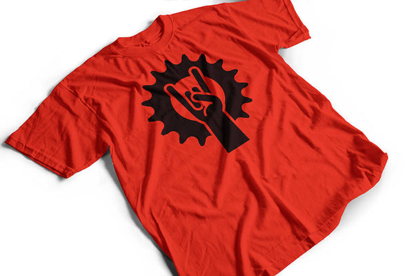 """Metalcog"" cyclist Tshirt, red by Felvarrom bicycle upcyclery - 1"