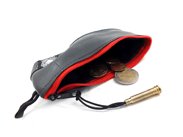 """CoInTube"" bike tube coin purse, M, red zipper by Felvarrom bicycle upcyclery - 1"