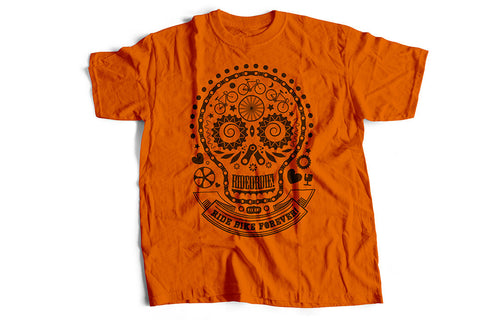 """Skullhead"" orange biker T-shirt by Felvarrom bicycle upcyclery - 1"