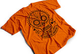 """Skullhead"" orange biker T-shirt by Felvarrom bicycle upcyclery - 2"