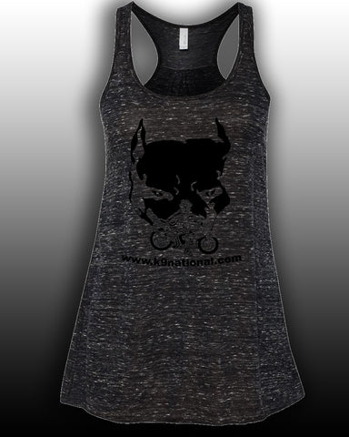 K9 Too Black Womens Flowy Tank/Black Logo
