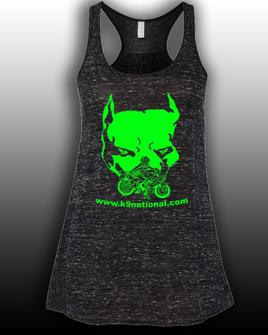 K9 Too Black Womens Flowy Tank/Lime Logo