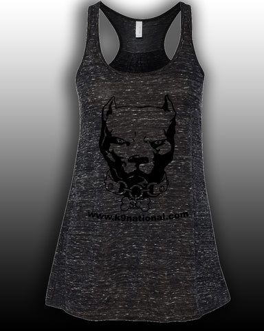 K9 SC Black Womens Flowy Tank/Black Logo