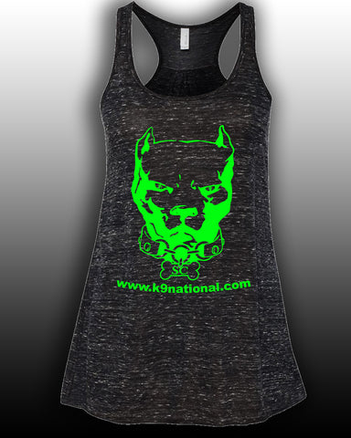 K9 SC Black Womens Flowy Tank/Lime Logo