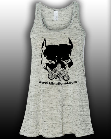 K9 Too White Womens Flowy Tank/Black Logo