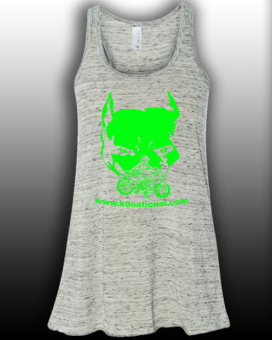 K9 Too White Womens Flowy Tank/Lime Logo