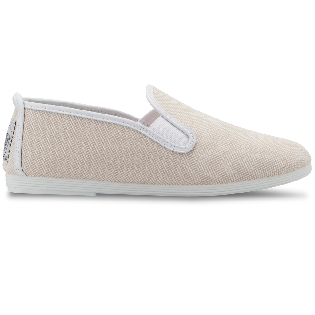 Womens Sand and White Marbella Slip On Plimsoll