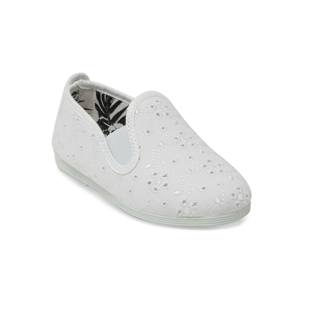 Kids White Anica Slip on Plimsoll