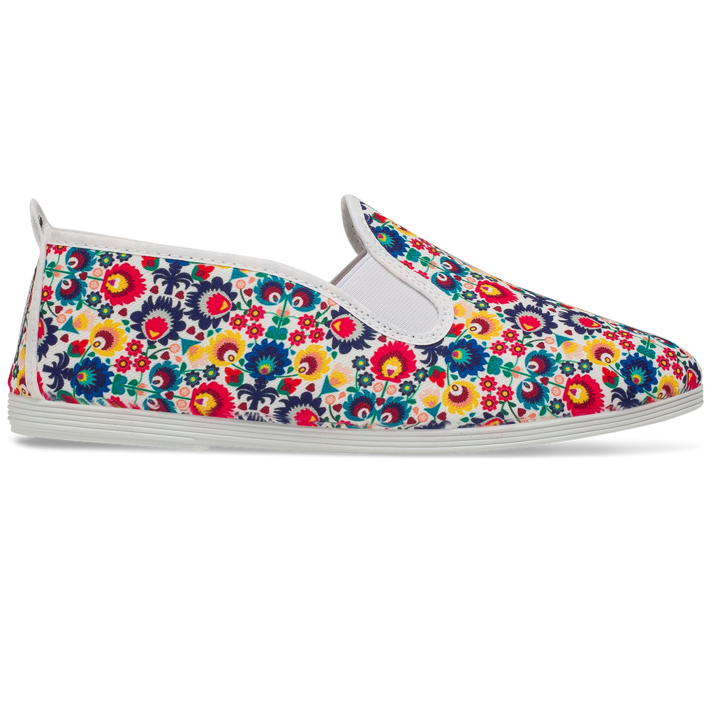 Womens Print White Carles Slip on Plimsoll