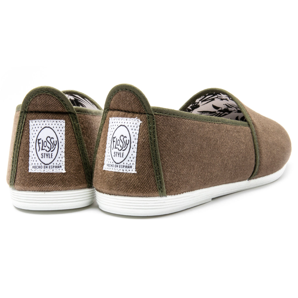 Mens Khaki Sancho Slip on Plimsoll